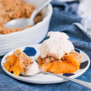 Our classic Peach Crumble is the perfect recipe for using up fresh or tinned peaches. The sweet crunchy crumble is even more delicious when served with cream or ice-cream!
