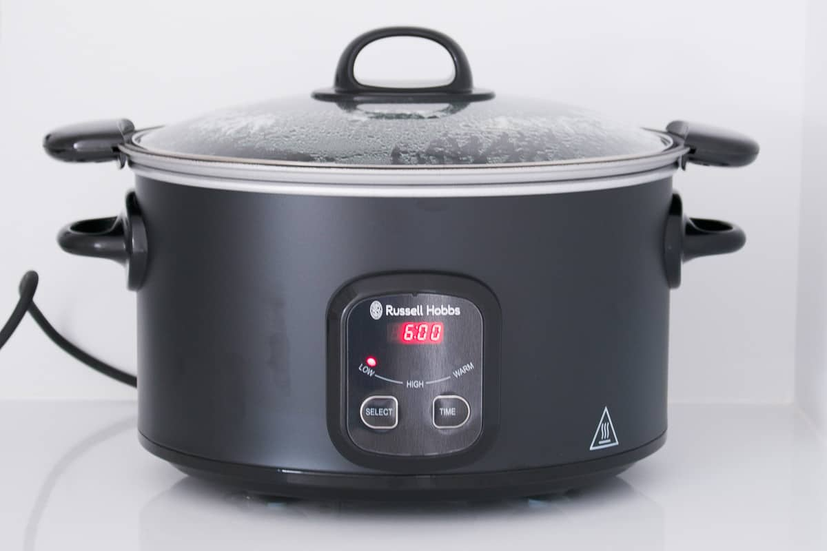 A slow cooker with a timer.
