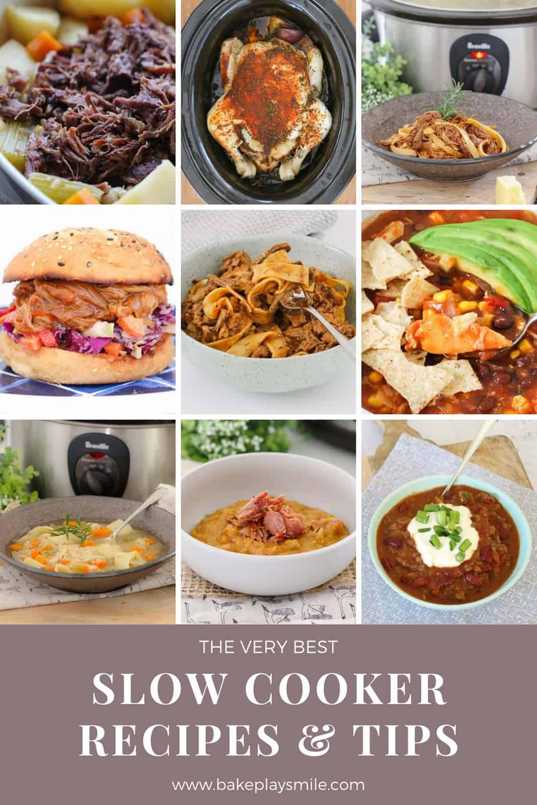A collage of dinners that have been made using a slow cooker.
