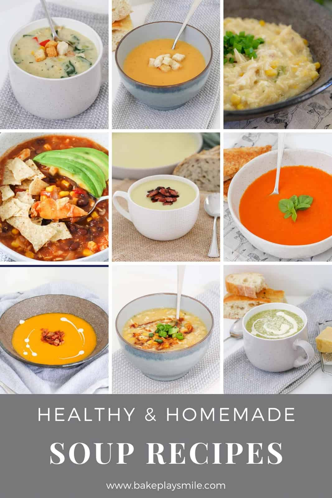 A collage of healthy homemade winter soup recipes.
