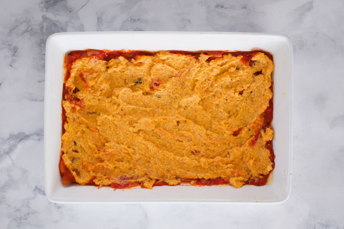 Pureed pumpkin in a rectangular baking dish.