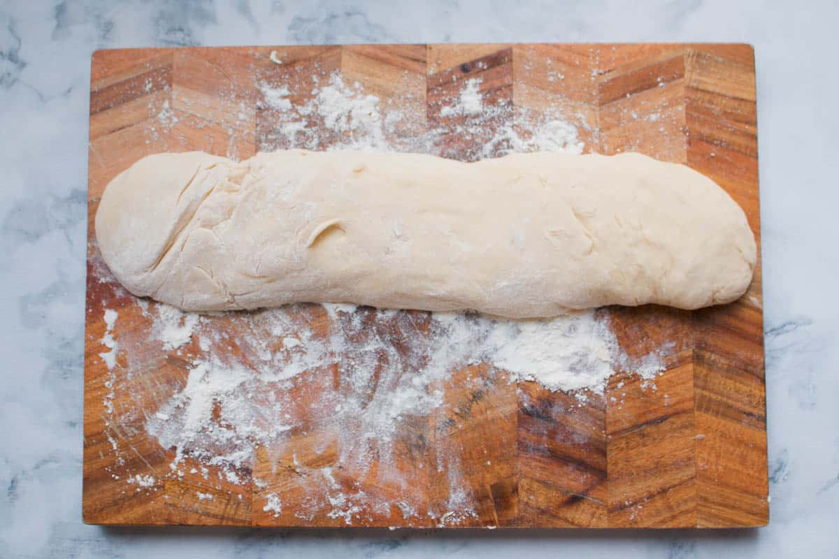 A long log of dough.