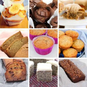 A collage of muffins, cakes and breads made using banana.