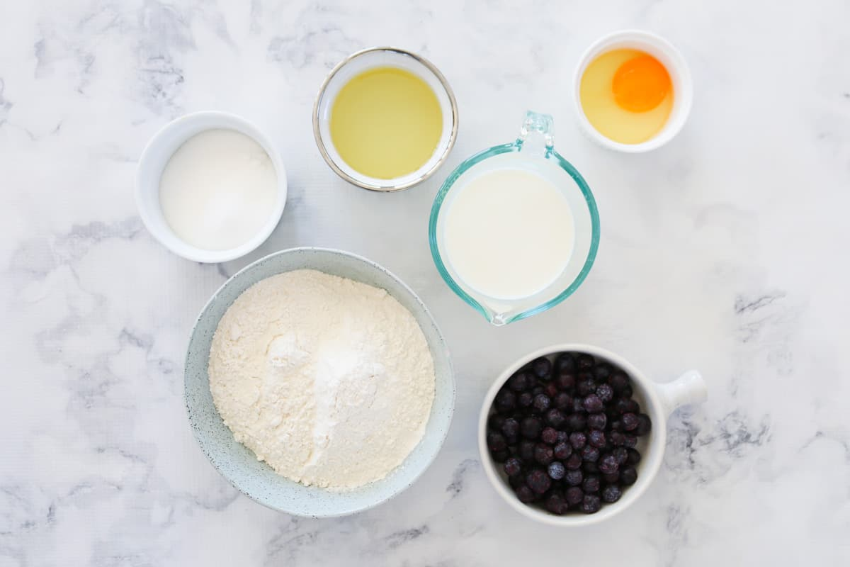 The ingredients for blueberry muffins.