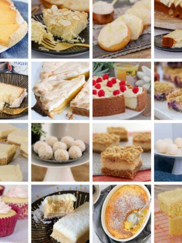 A collage of sweet baking recipes made using lemons.