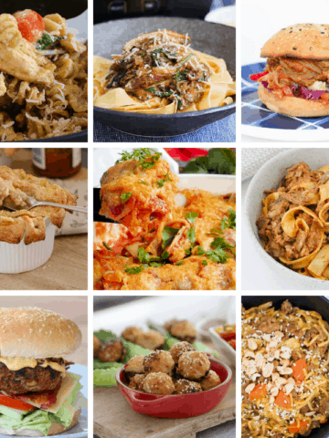 A collage of dinner recipes for families.