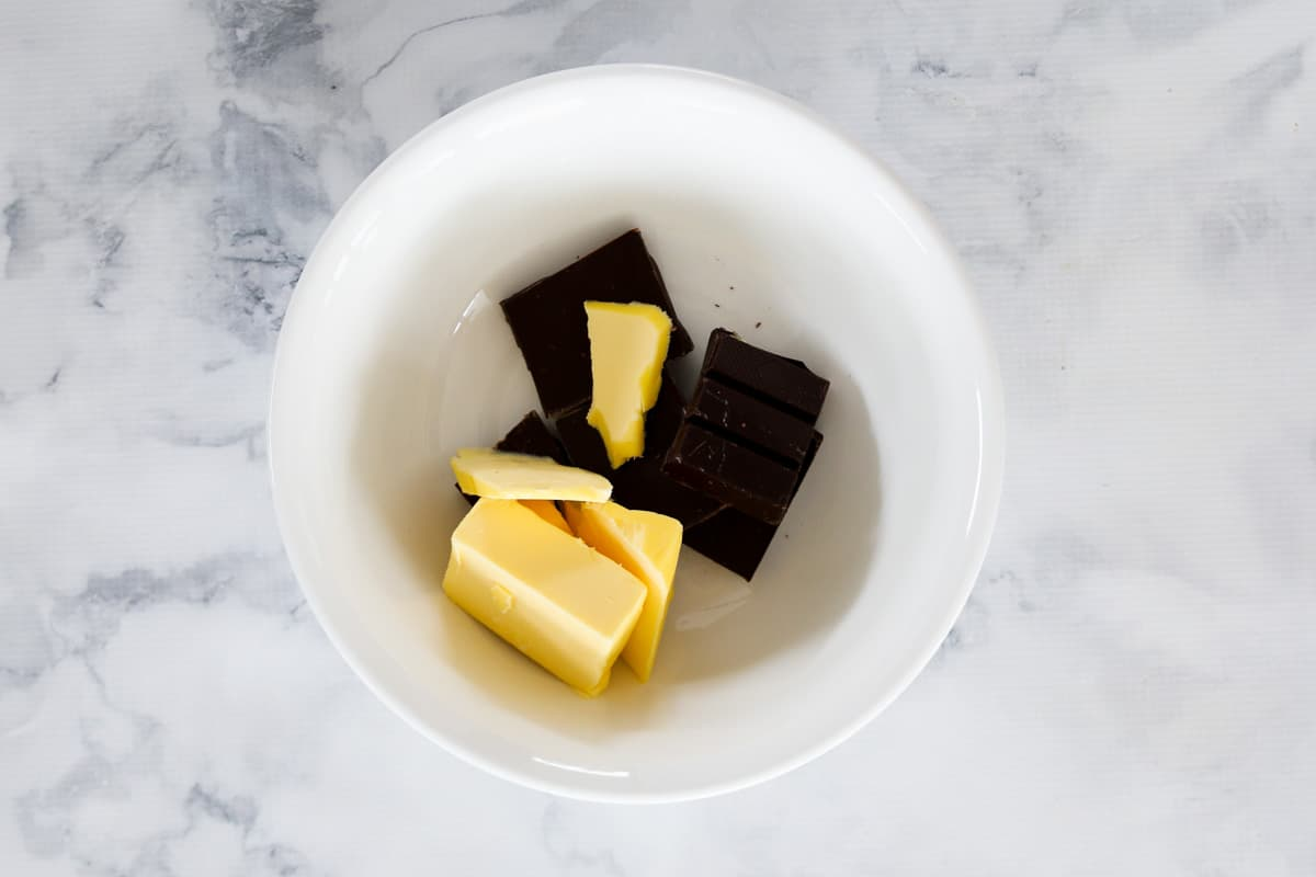 Chocolate and butter in a bowl.