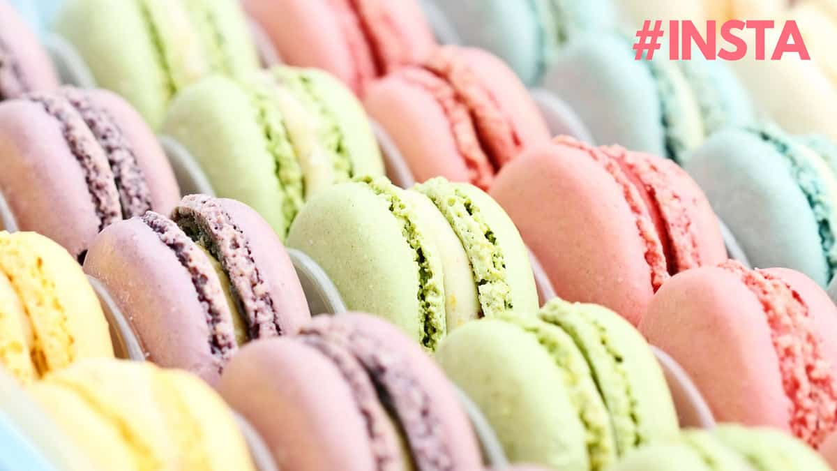 Pink, green and purple macarons.