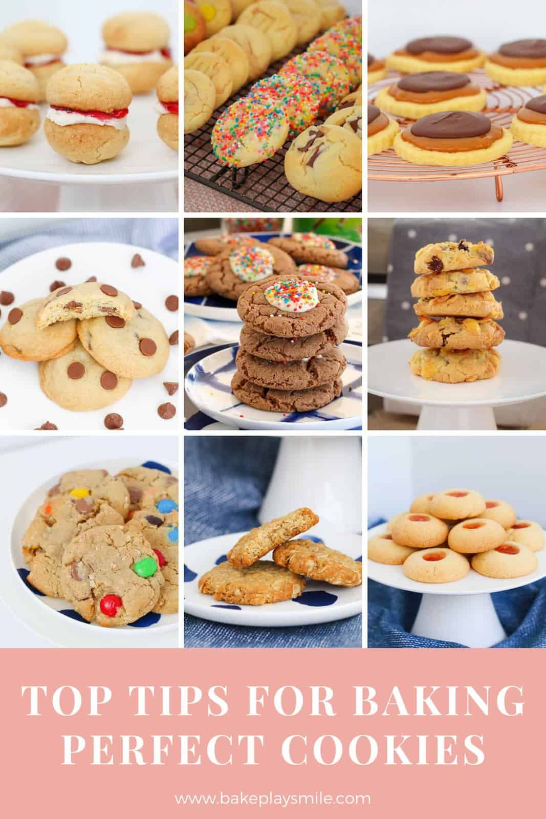 A collage of bright photos of different cookie recipes.