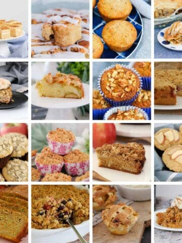 A collage of sweet recipes including cakes, muffins, pies, crumbles and slices made with apples.