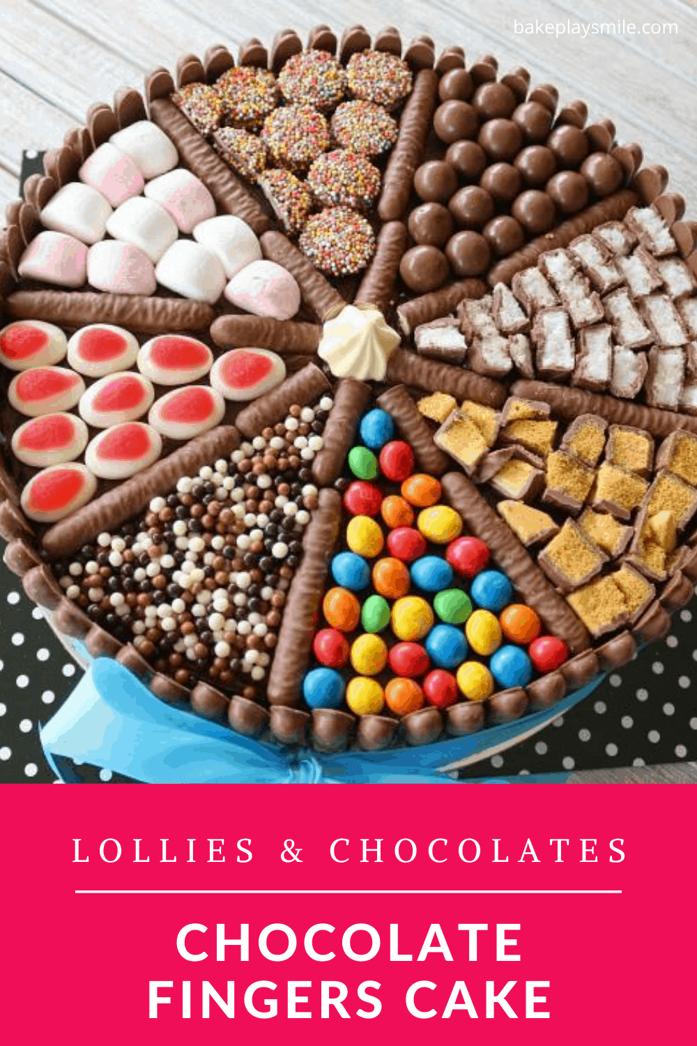 A cake decorated with chocolate fingers, lollies and chocolates.