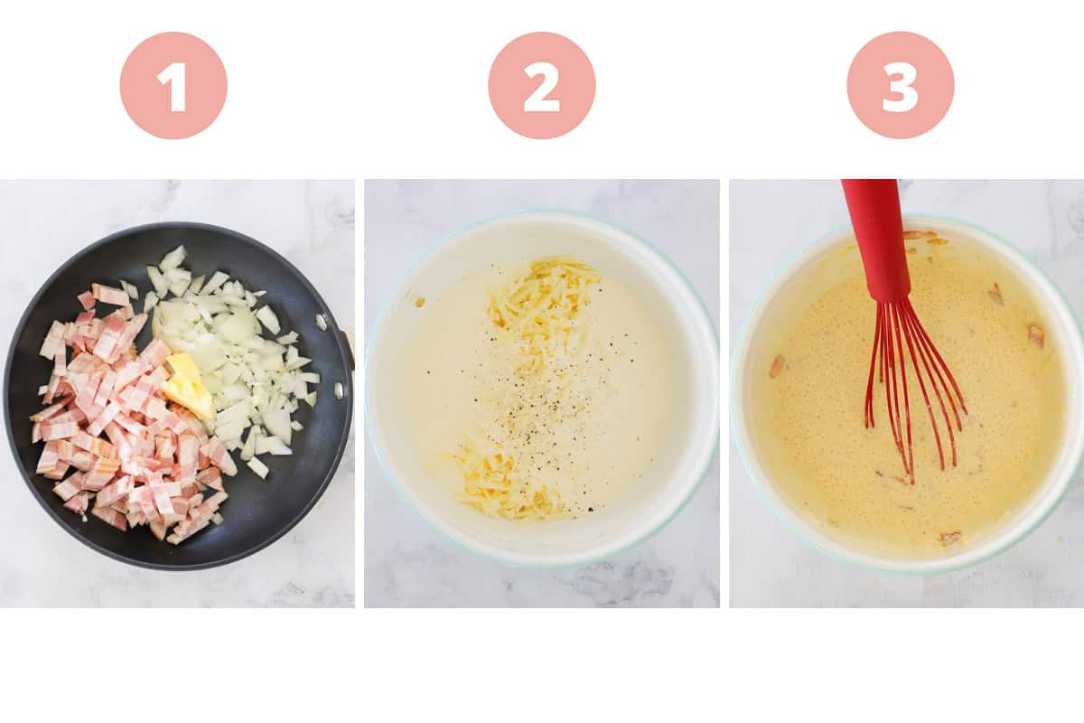 A collage showing the three steps of making an egg, cheese and bacon quiche filling.