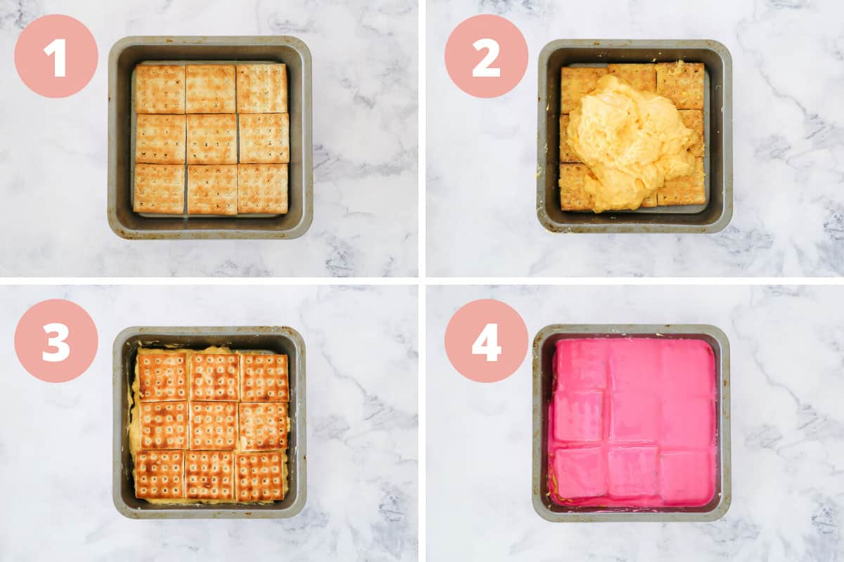 A collage showing the assembly of a vanilla slice made with Lattice biscuits, custard and pink icing glaze.