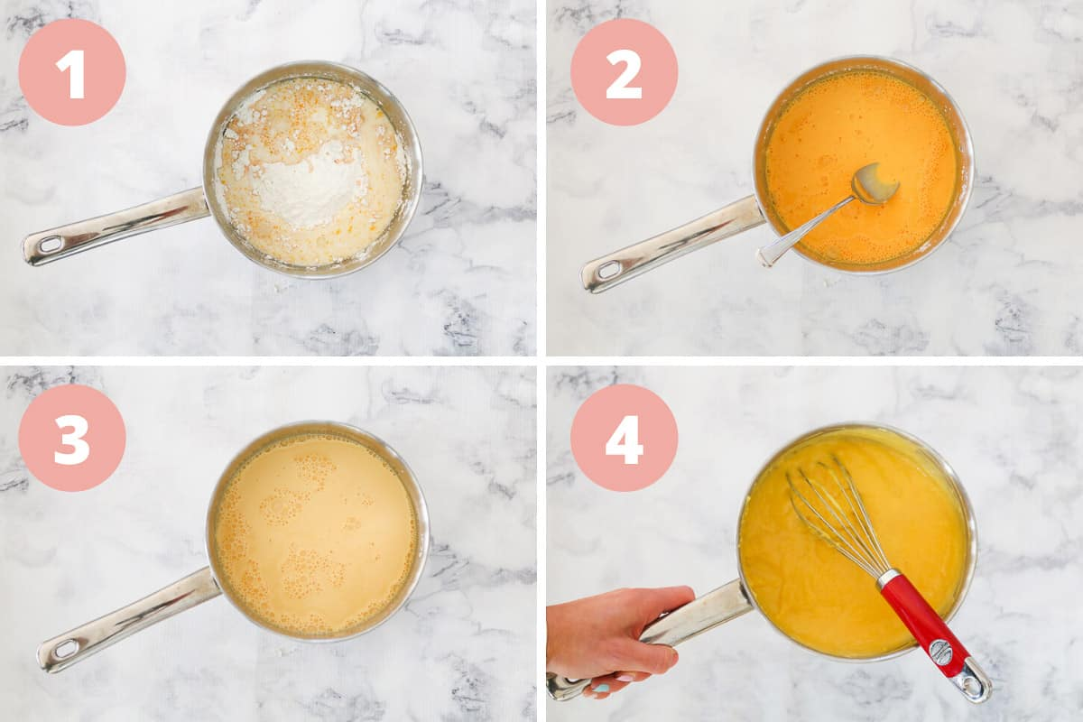 A collage of the steps of how to mix and cook vanilla custard in a saucepan.