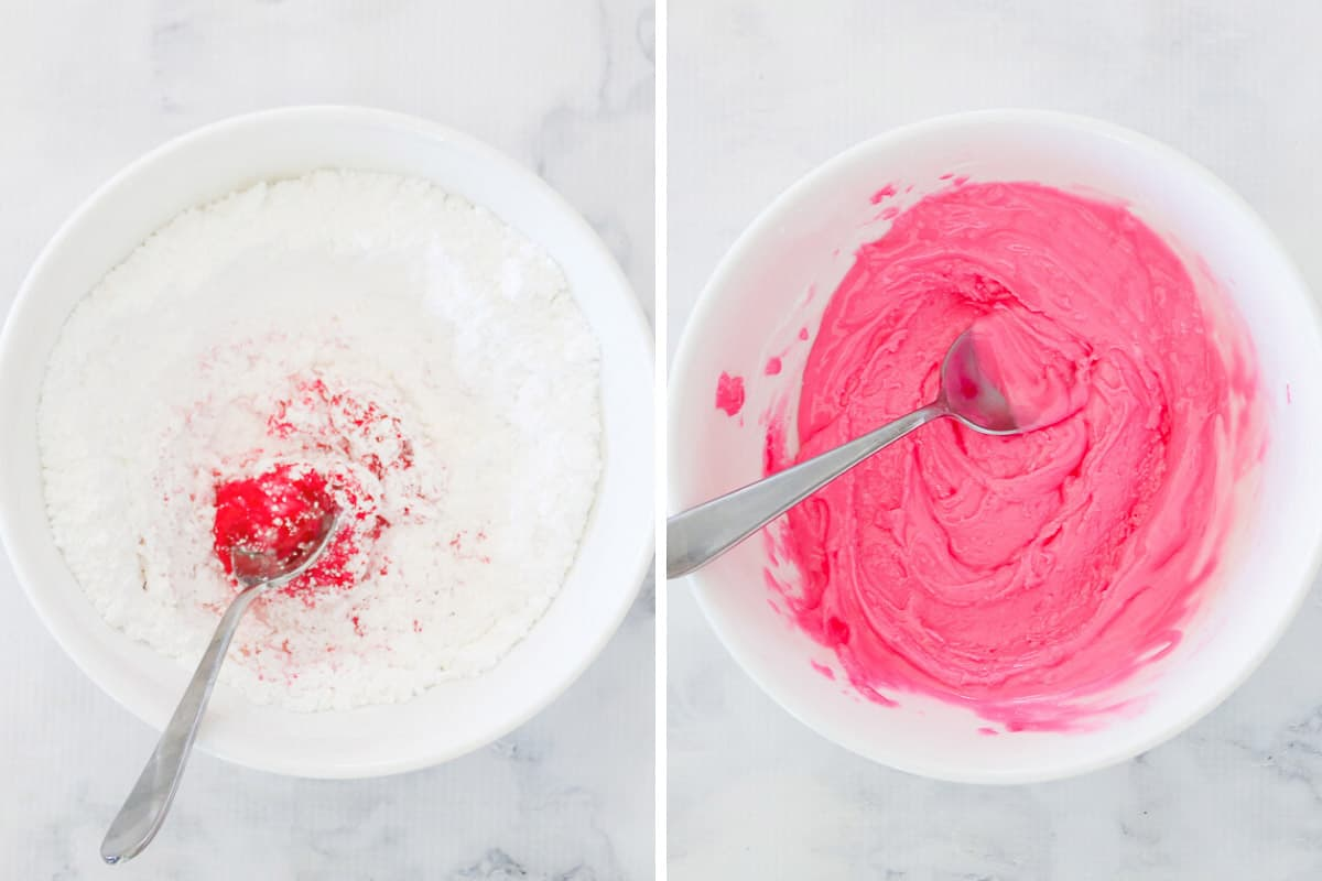 Two pictures showing how a pink icing sugar glaze is made.