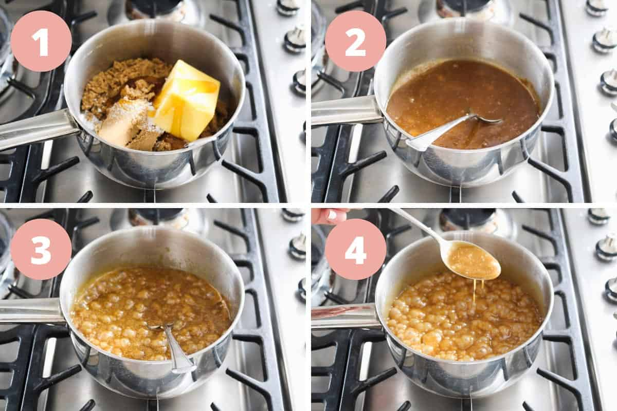 A collage of 4 images showing the steps to make caramel on the stove
