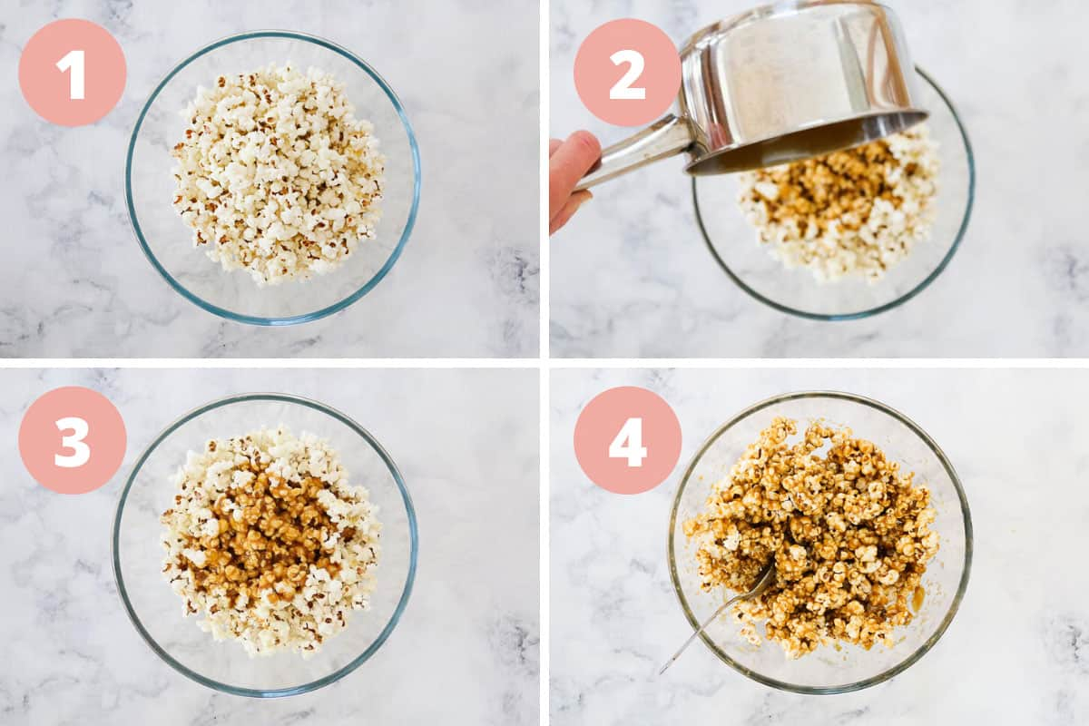 A collage of 4 images showing caramel being poured over the popcorn and combining popcorn and caramel sauce