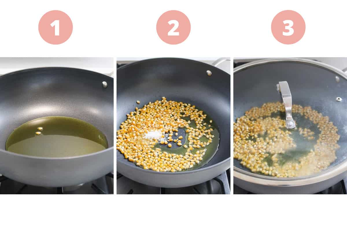 A collage of three steps showing the steps of heating oil and popcorn on a stovetop.