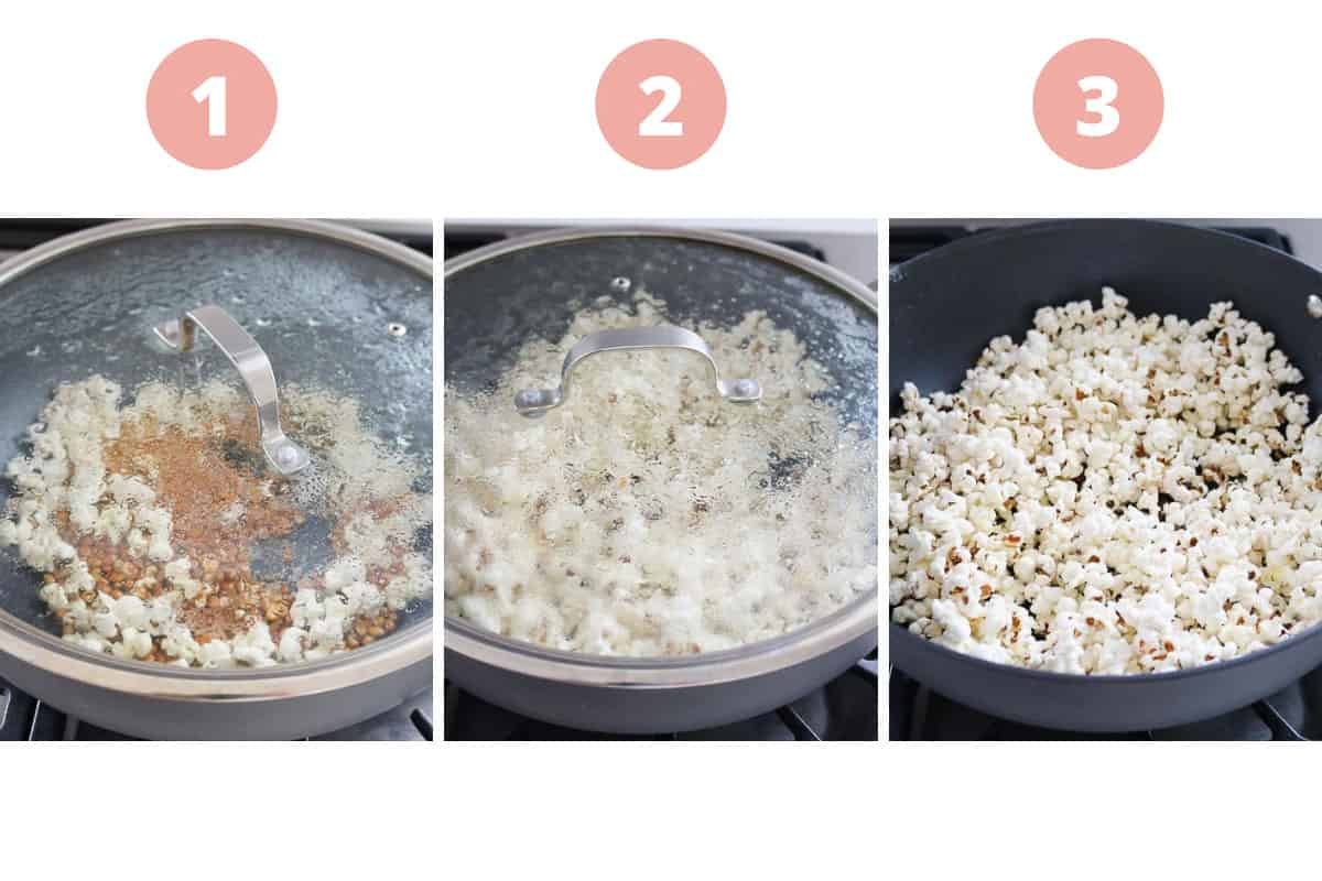 A collage showing the process of cooking popcorn on the stovetop.