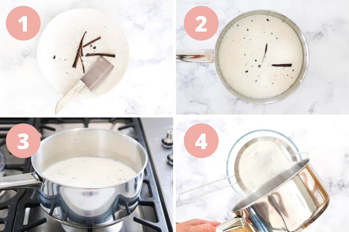 A collage of four steps to infuse milk with vanilla bean on the stovetop.