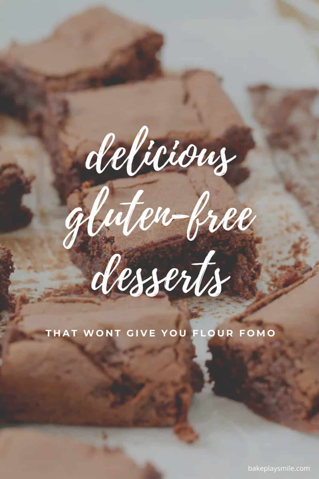 Pieces of chocolate brownie on a chopping board with the overlay of text 'delicious gluten-free desserts'