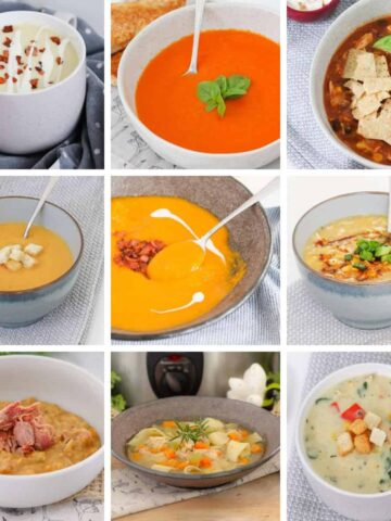 A collage of photos of healthy soups in bowls.