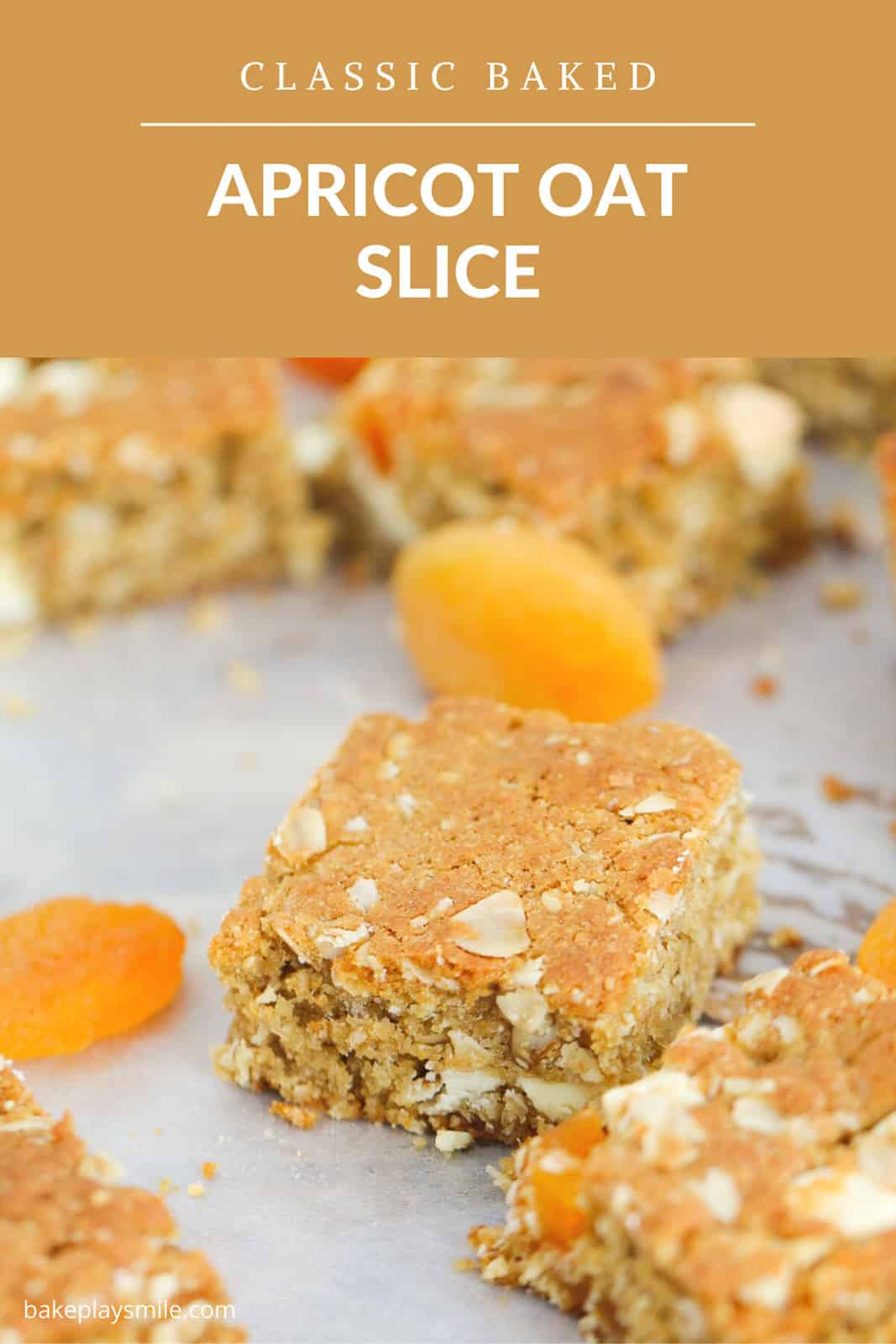 Pieces of apricot oat slice and some dried apricots