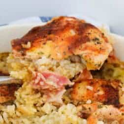 A cajun spiced chicken thigh baked with rice and bacon.