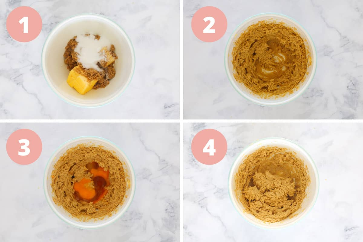 A collage of four steps, showing ingredients being mixed to make cookie dough