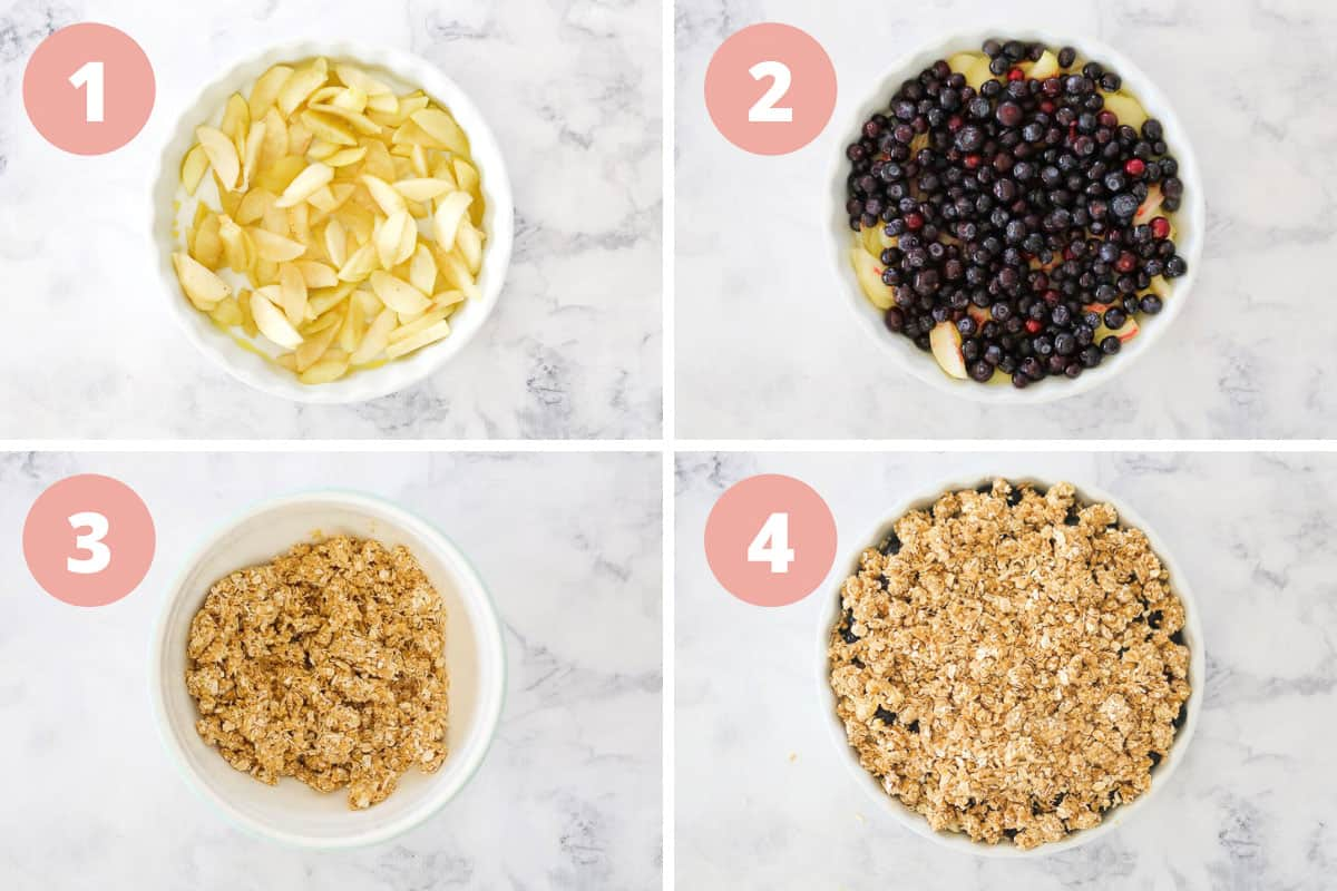 Instructions for apple and blueberry crumble showing four bowls with the different steps