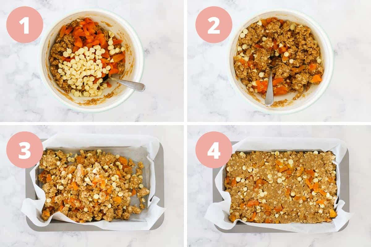 Four steps showing adding the apricots and white chocolate chips and mixing, then adding the mixture to a baking tray