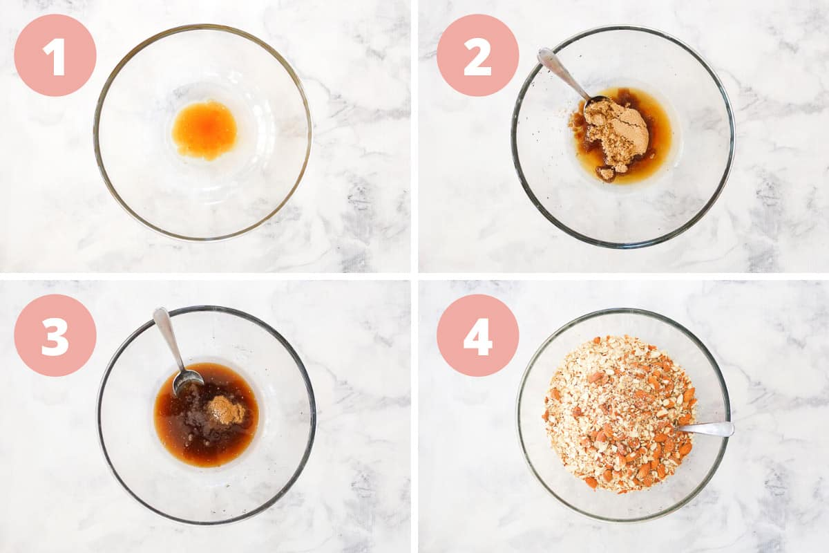 A collage of four photos showing the steps for making crunchy nut granola.