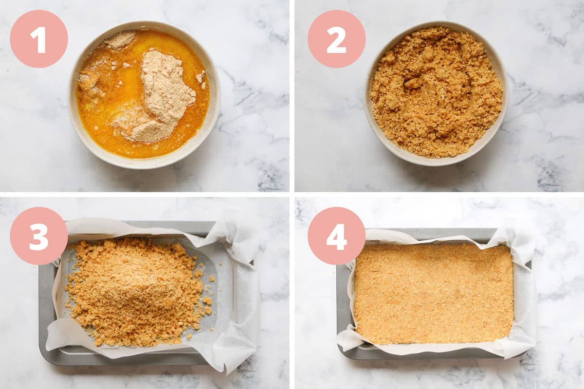 A collage of 4 steps for mixing the base of the creamy lemon slice and pressing it in to a baking tin