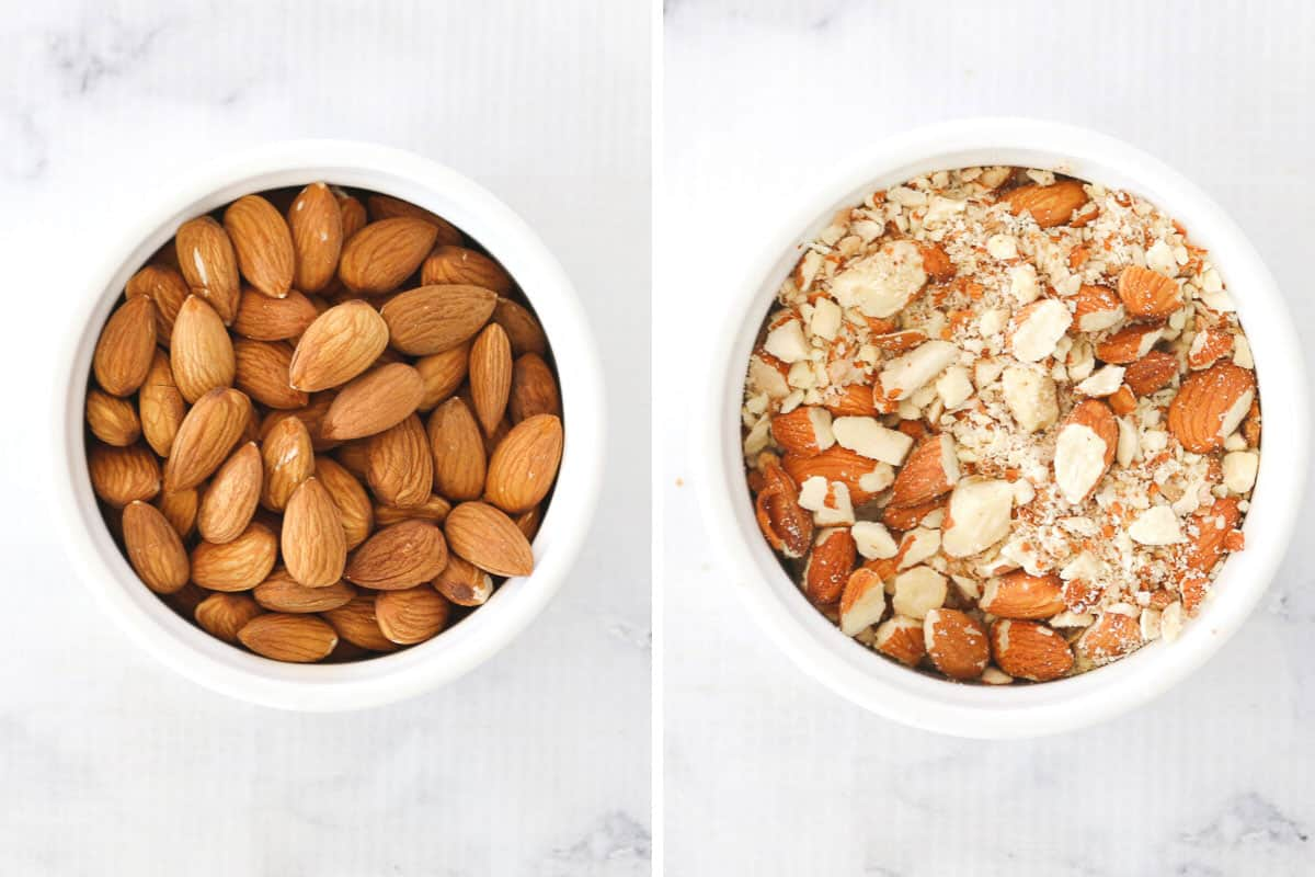 Steps showing almonds in a bowl and then a bowl with the almond and oats combined