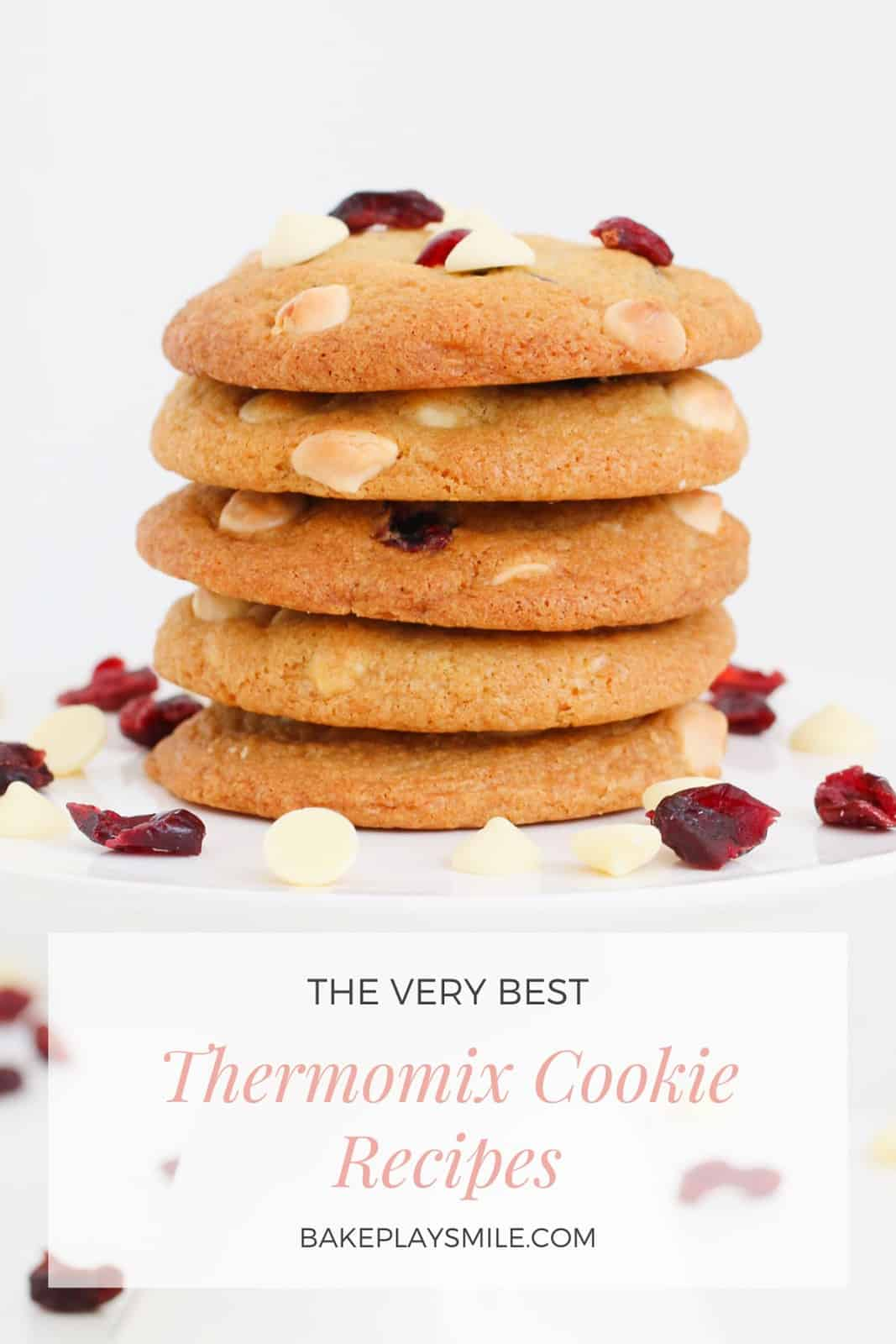 A Pinterest image of a stack of cookies with the text overlay 'The Very Best Thermomix Cookies'
