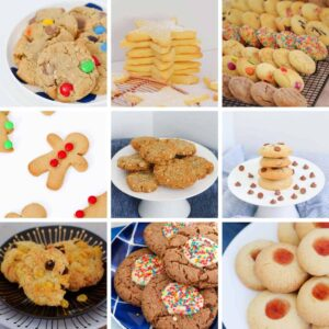 A collage of cookies that have been made in a Thermomix.