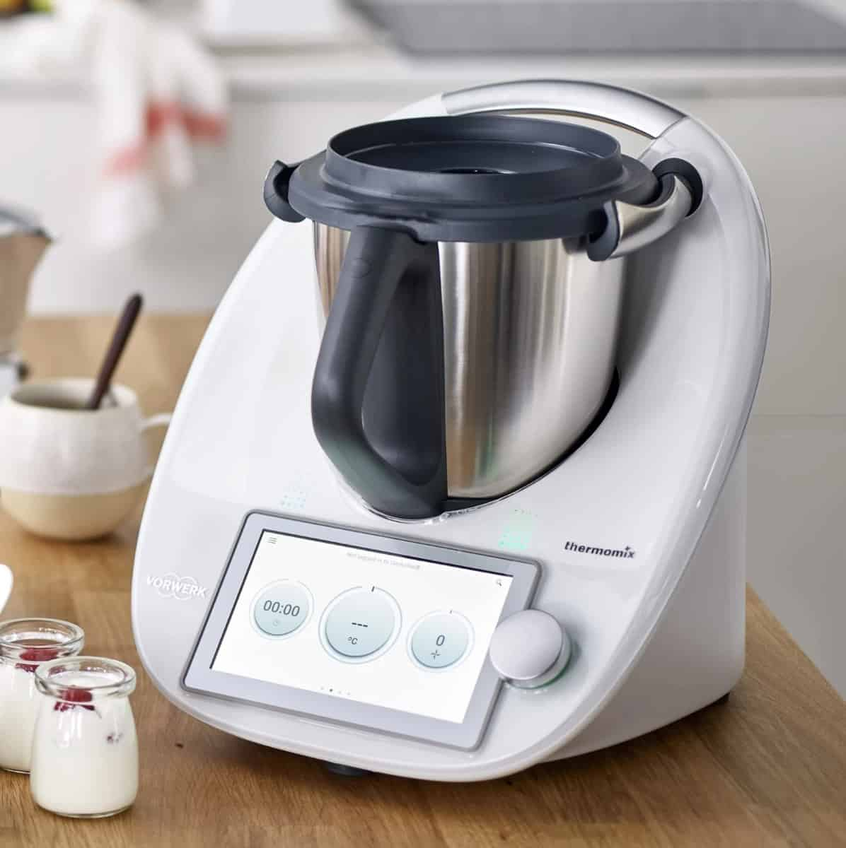 A Thermomix TM6 machine sitting on a kitchen bench.