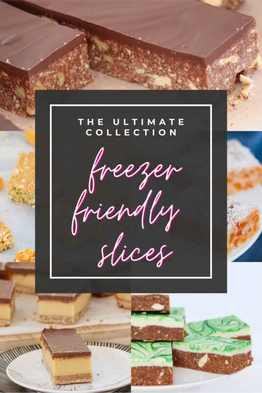 A Pinterest image with freezer slices in the background and the text overlay 'freezer friendly slices'