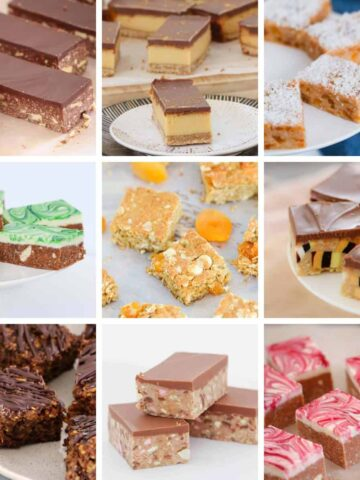 A collage of freezer friendly slice recipes.