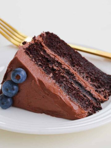 A slice of rich mud cake with chocolate frosting and blueberries on a white plate.