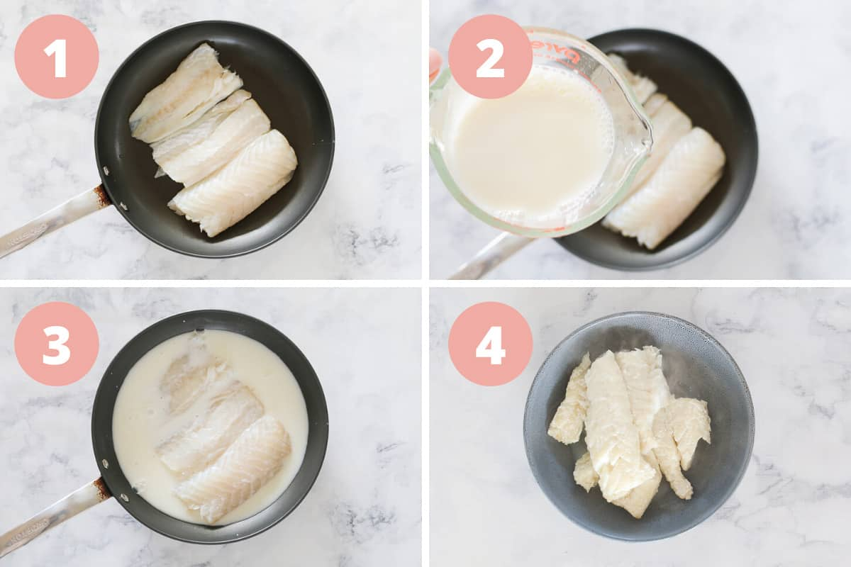 A collage showing white fish being cooked in a frying pan with milk and water.