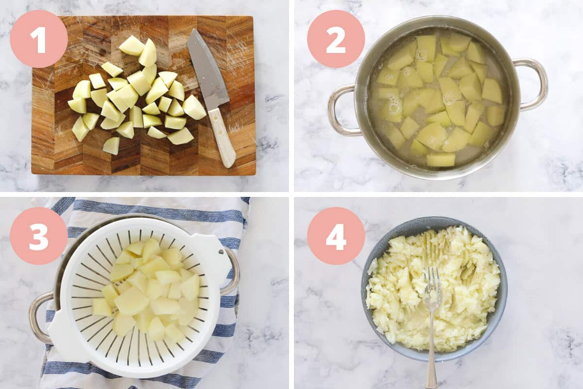 A collage of four steps showing chunks of potato being chopped, boiled, drained and mashed.