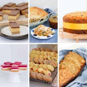 A collage of popular baking recipes from banana bread to fruit cake, cookies to apple pie and caramel slice to jelly slice.
