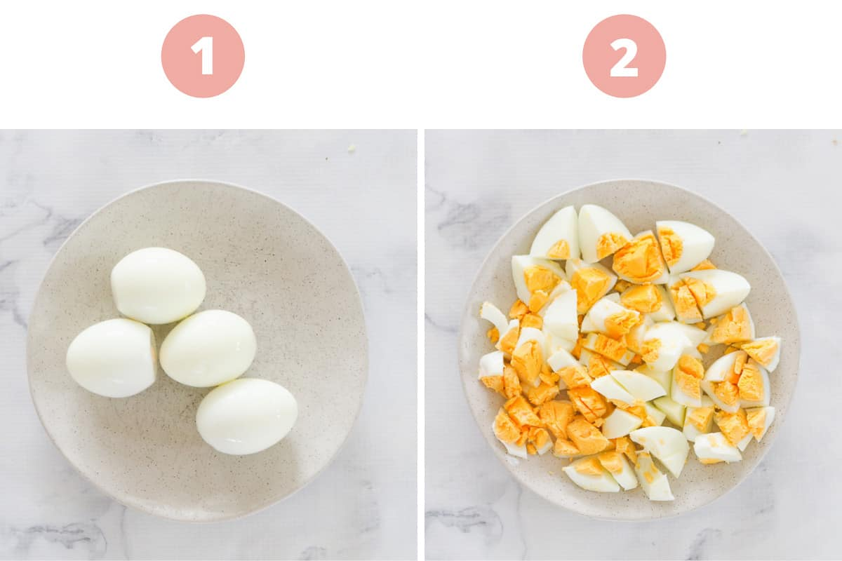 Two steps showing four hard boiled eggs peeled, then chopped into pieces in a bowl.