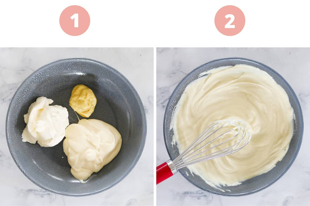 The two steps of how to make a dressing with sour cream, dijon mustard and mayonnaise.