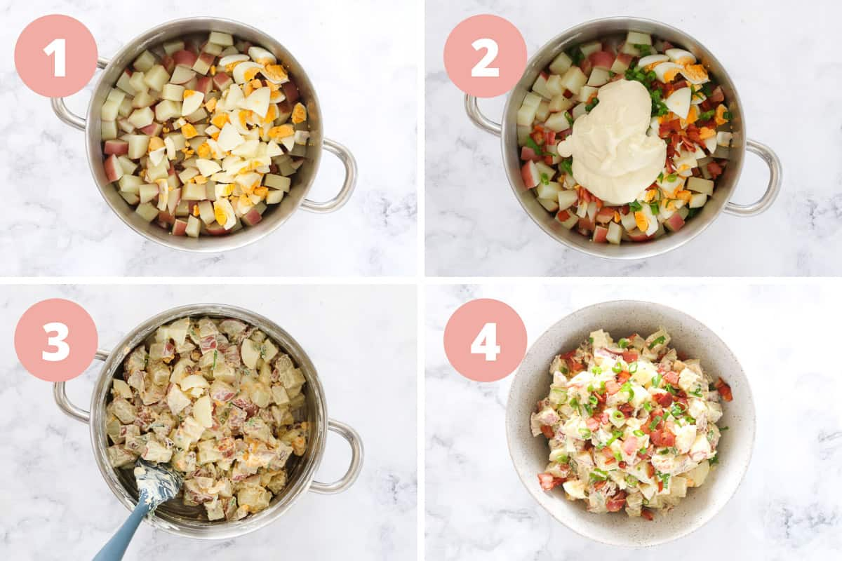 A collage of four steps showing egg, bacon, spring onion and creamy dressing being added to potatoes and mixed.