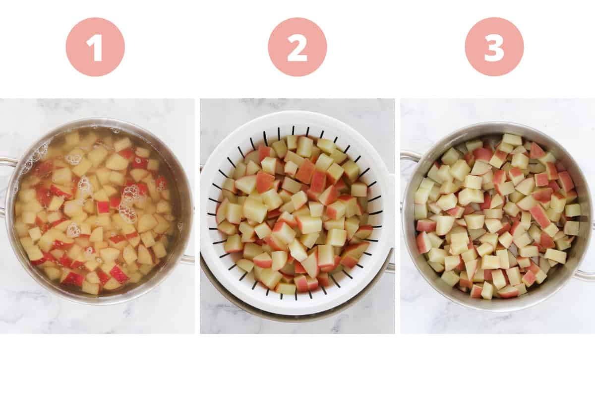 A collage showing chunks of potato being boiled in a pot then drained.