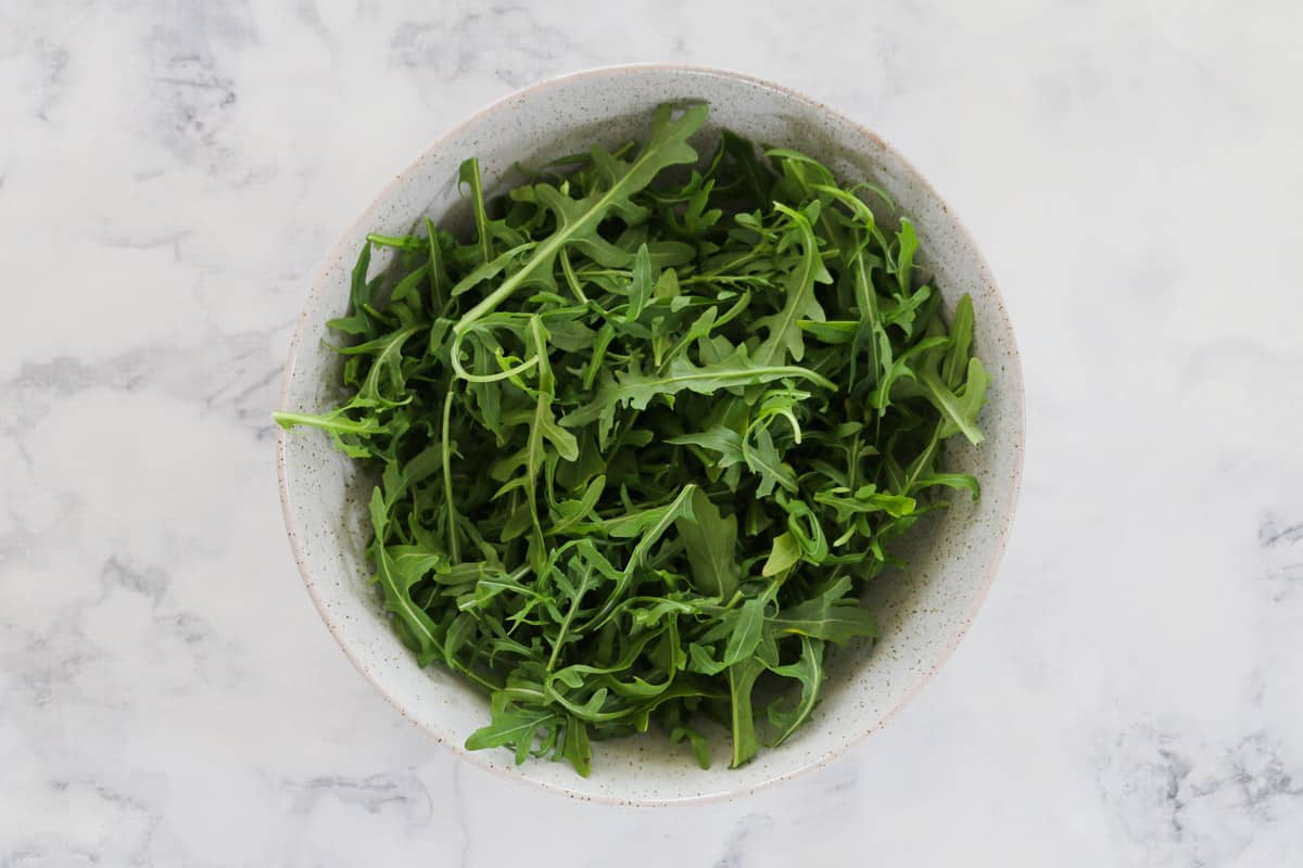 A bowl of fresh rocket.