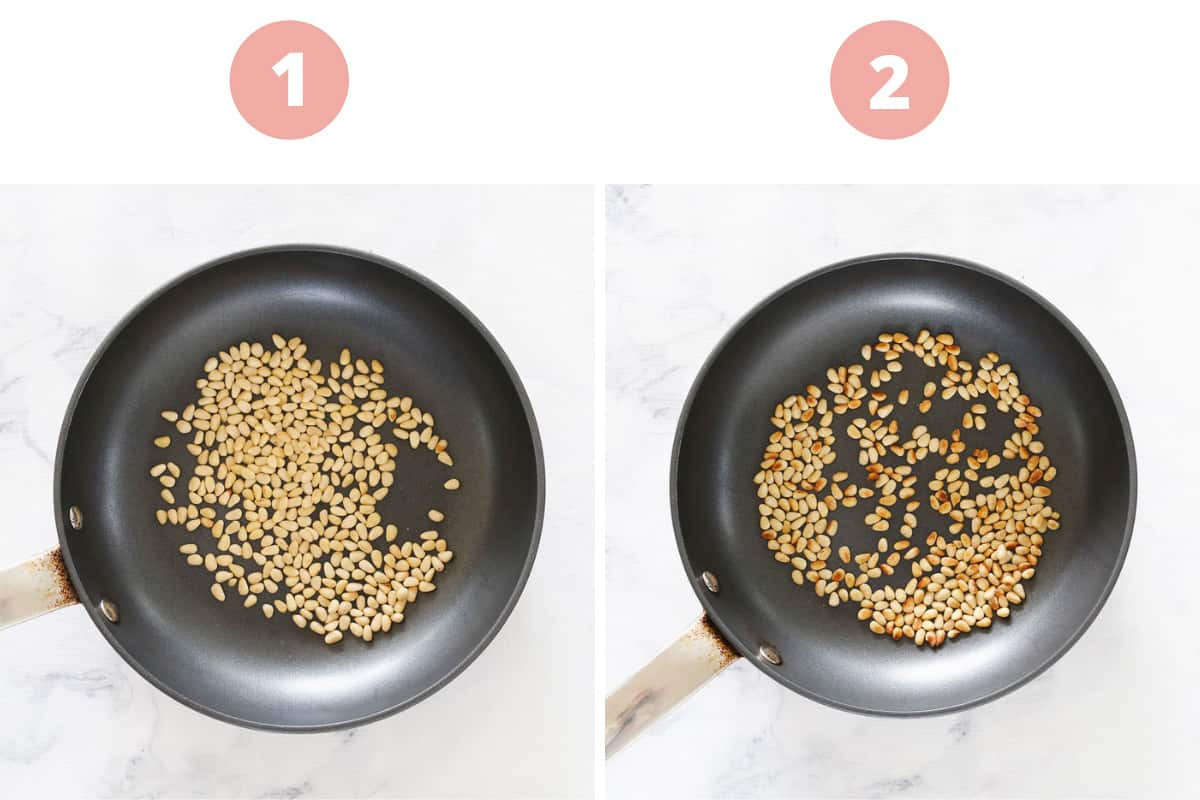 A collage showing how to toast pine nuts in a frying pan.