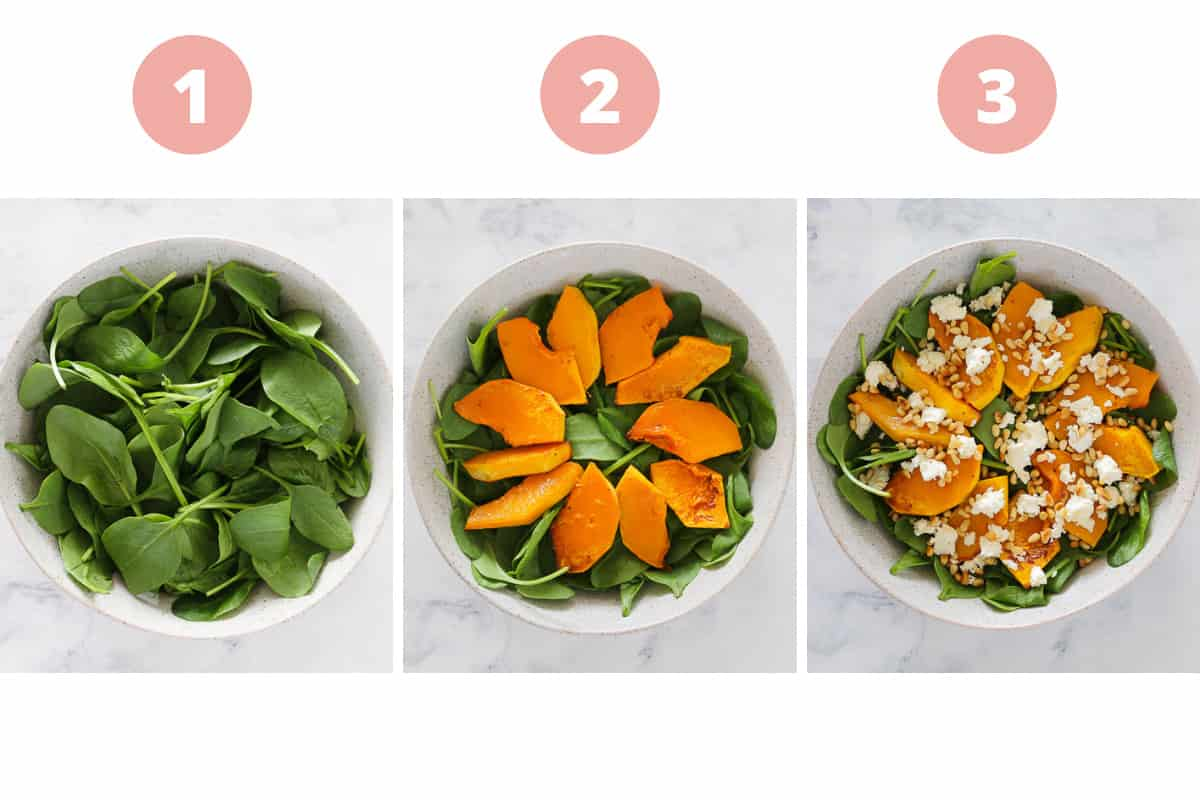 A collage showing a salad with pumpkin, spinach, feta and pine nuts being assembled.